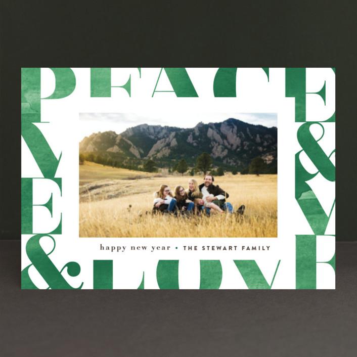 """Modern Peace & Joy"" - Holiday Postcards in Emerald by Jennifer Wick."