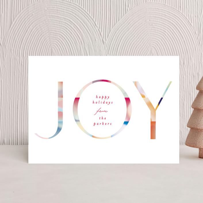 """Joyful Color Block"" - Modern Holiday Postcards in Festive by Phrosne Ras."