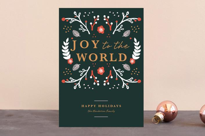 """""""Joyful Garden"""" - Holiday Postcards in Pomegranate by Haley Fischer."""