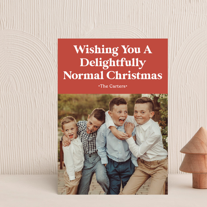 """""""A Normal Christmas"""" - Funny Holiday Postcards in Santa Red by GeekInk Design."""