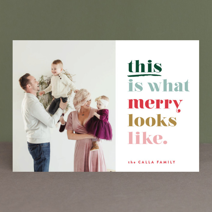 """this is merry"" - Funny Holiday Postcards in Mixed Berry by Carrie ONeal."