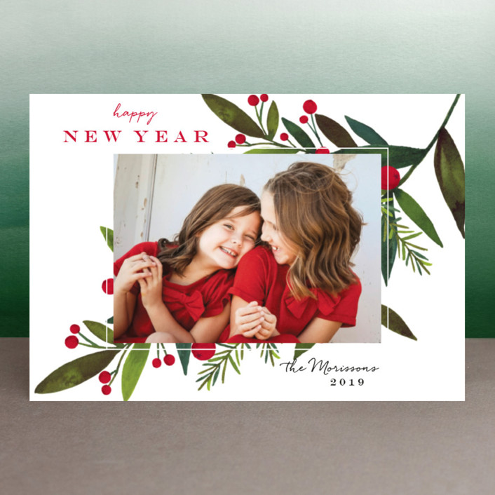 """""""Bold Winter Foliage"""" - Holiday Postcards in Cherry by Petra Kern."""