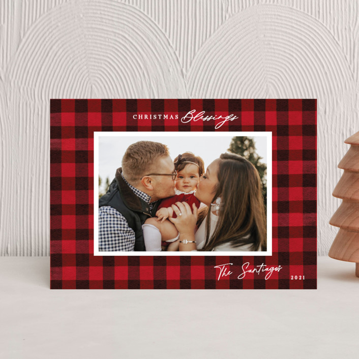 """""""Winter Plaid"""" - Vintage Holiday Postcards in Cherry by Elly."""