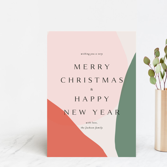 """""""Holiday Wishes"""" - Modern Holiday Postcards in Tangerine by Kasia Labocki."""