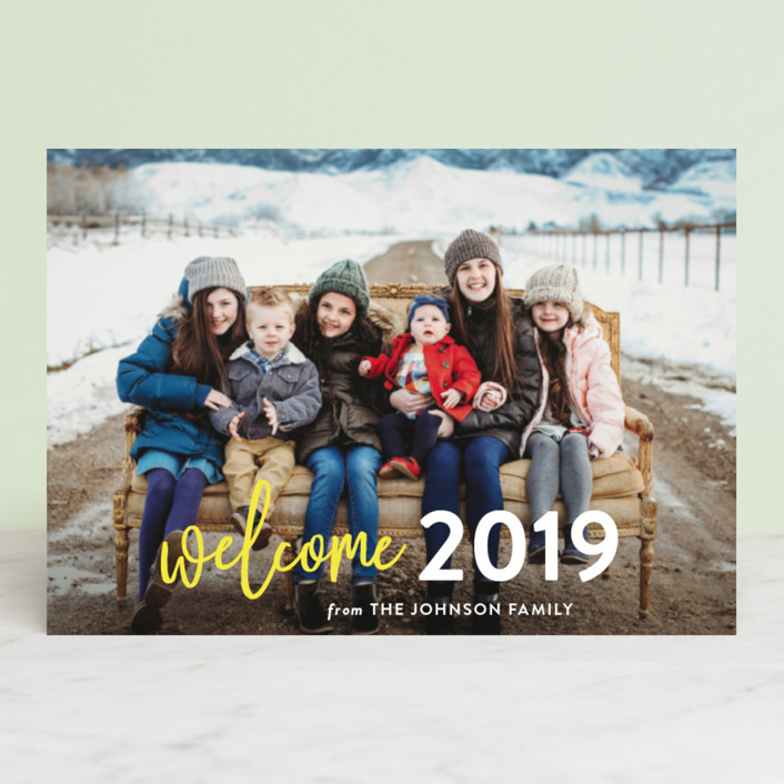 """""""Welcome Year"""" - Holiday Postcards in Lemon by Chasity Smith."""