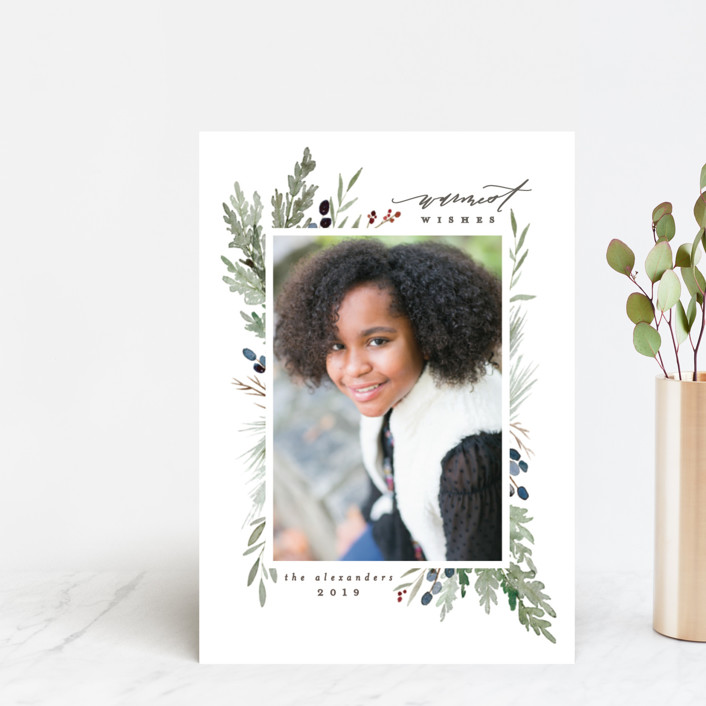 """""""Watercolor Juniper"""" - Holiday Postcards in Evergreen by Everett Paper Goods."""
