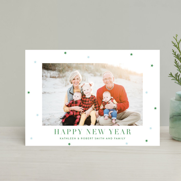"""""""Brightly"""" - Holiday Postcards in Boxwood by Toast & Laurel."""