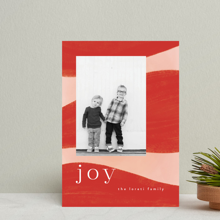 """Joyful Waves"" - Modern Holiday Postcards in Blush by Nazia Hyder."