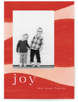 This is a red christmas postcard by Nazia Hyder called Joyful Waves with standard printing on signature in postcard.