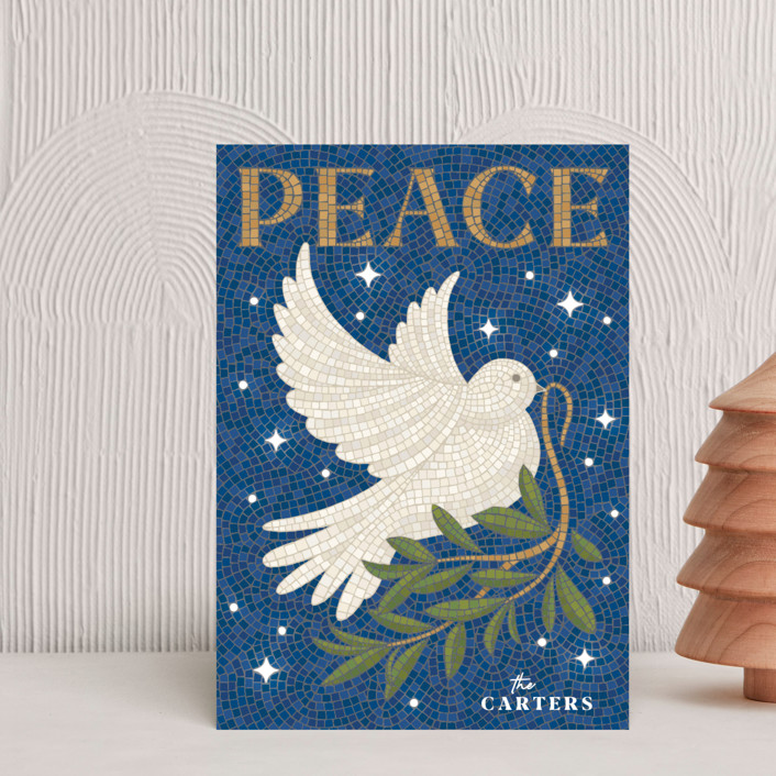 """""""Mosaic Of Peace"""" - Bohemian Holiday Postcards in Navy by GeekInk Design."""