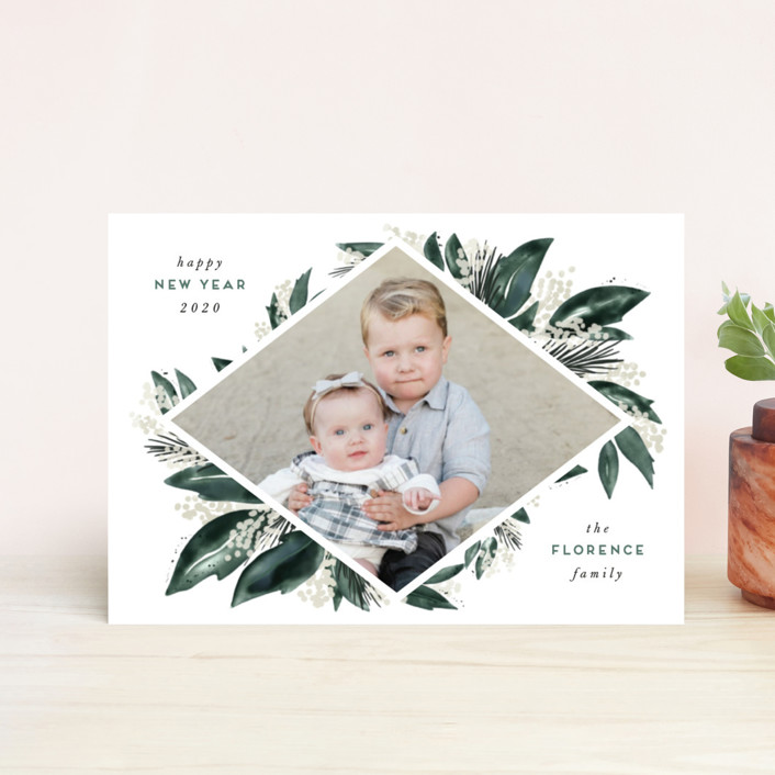 """""""Seasonal Greenery"""" - Holiday Postcards in Evergreen by Leah Bisch."""