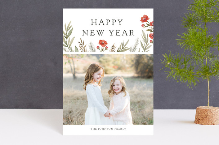"""""""Merry Christmas Wildflowers"""" - Holiday Postcards in Ruby by Wildfield Paper Co.."""