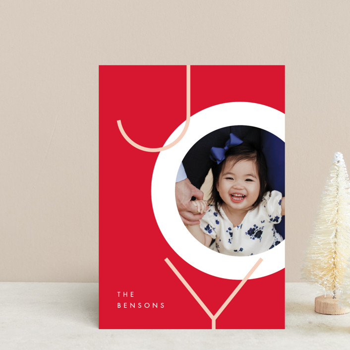 """""""Boldly Modern"""" - Holiday Postcards in Poinsettia by JeAnna Casper."""