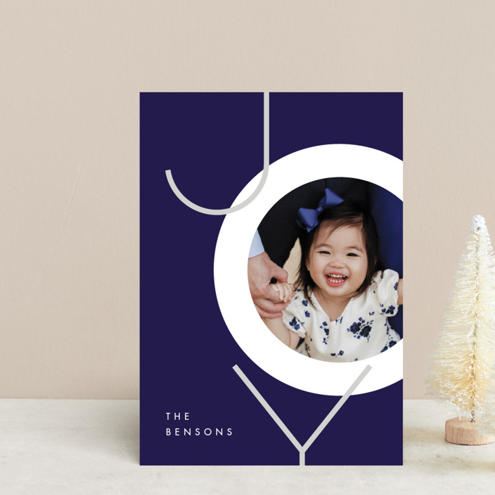 """Boldly Modern"" - Holiday Postcards in Navy by JeAnna Casper."