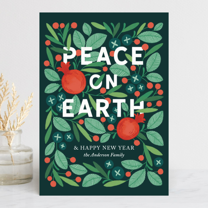 """Wreathed in Peace"" - Holiday Postcards in Evergreen by Paper Raven Co.."