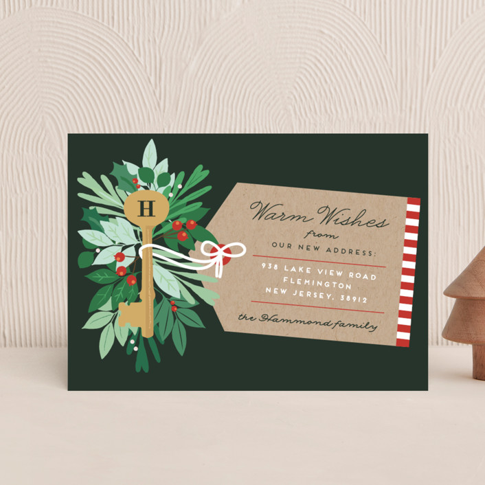 """Monogram Key"" - Holiday Postcards in Forest Green by Bonjour Berry."