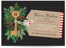 This is a black christmas postcard by Bonjour Berry called Monogram Key with standard printing on signature in postcard.