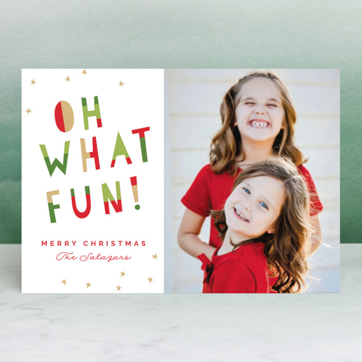 """""""Oh What Fun!"""" - Modern Holiday Postcards in Mistletoe by Pixel and Hank."""