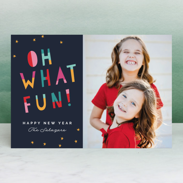 """""""Oh What Fun!"""" - Modern Holiday Postcards in Midnight by Pixel and Hank."""