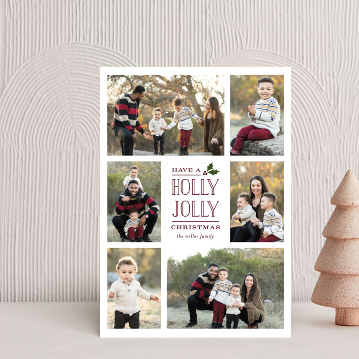"""""""Holly Jolly Holla"""" - Bohemian Holiday Postcards in Berry by Michelle Poe."""