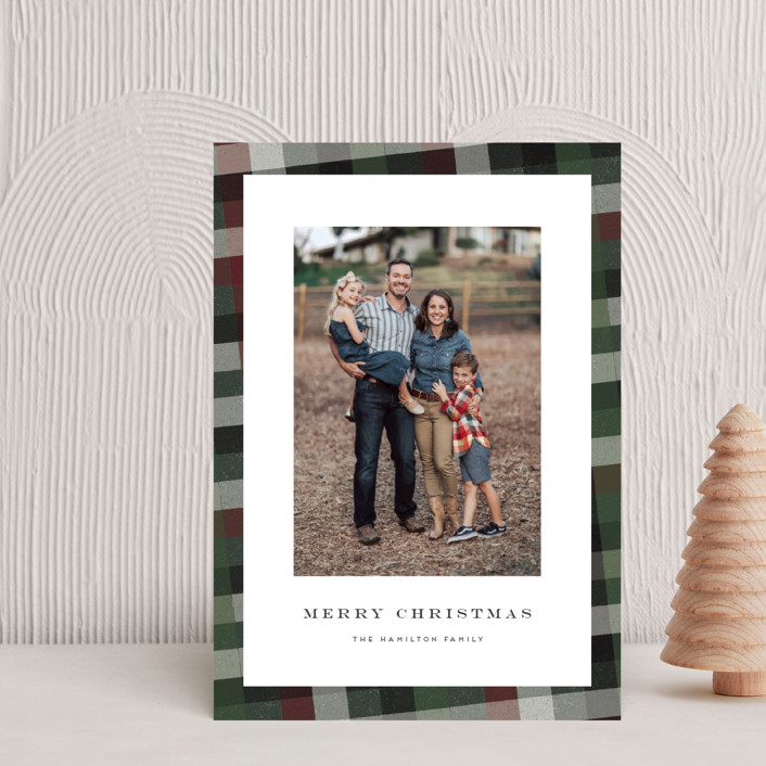 """""""Flannel"""" - Vintage Holiday Postcards in Cranberry by Amy Payne."""