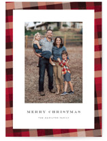 This is a red christmas postcard by Amy Payne called Flannel with standard printing on signature in postcard.