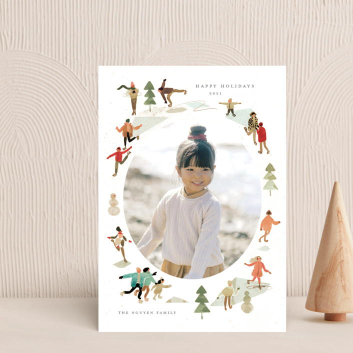 """""""Skate!"""" - Vintage Holiday Postcards in Forest by Morgan Ramberg."""