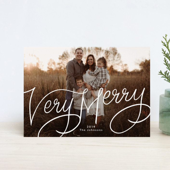 """Very Merry Hand Lettered"" - Holiday Postcards in Snow by Becky Nimoy."