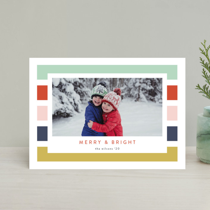 """Holiday Stripe"" - Modern Holiday Postcards in Confetti by Kasia Labocki."