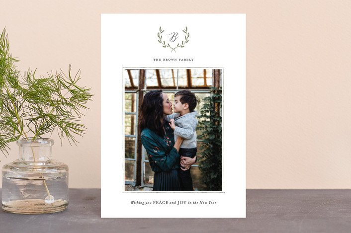 """Delicate Wreath"" - Holiday Postcards in Sage by Design Lotus."