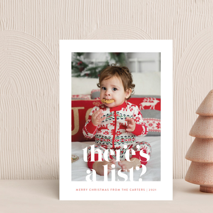 """""""There's a List"""" - Funny Holiday Postcards in Persimmon by Olivia Raufman."""