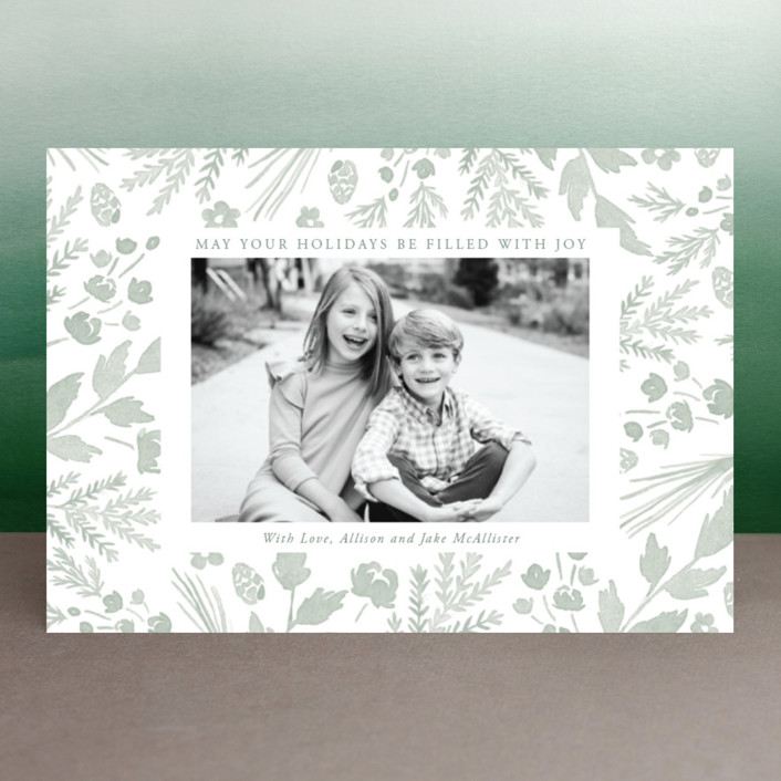 """""""Among the Foliage"""" - Holiday Postcards in Sage by Oscar & Emma."""
