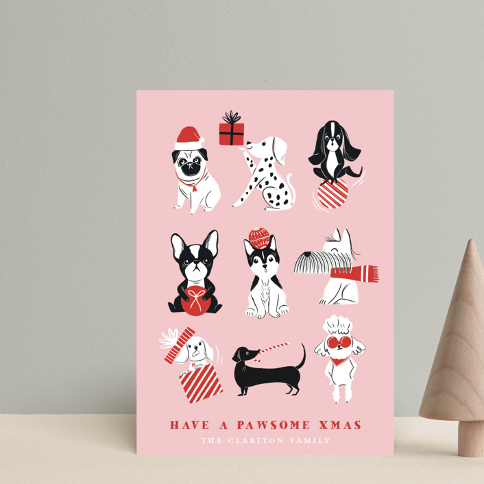 """Pawsome Xmas"" - Funny Holiday Postcards in Blush by Vivian Yiwing."