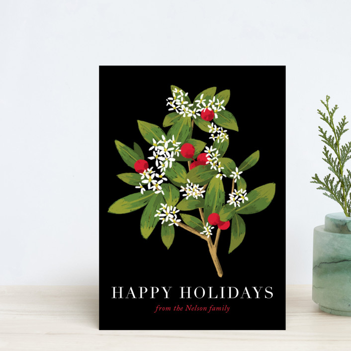 """Holiday foliage and flowers"" - Holiday Postcards in Tuxedo by Alexandra Dzh."