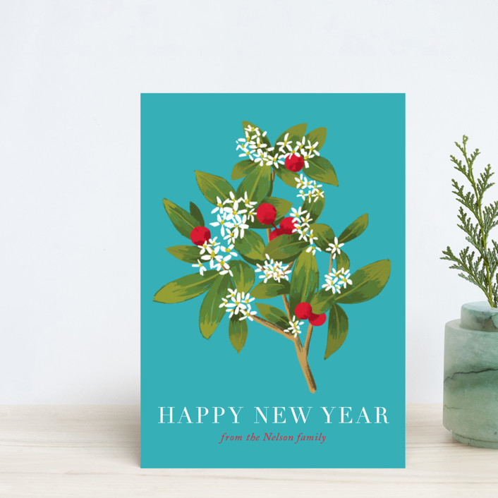 """Holiday foliage and flowers"" - Holiday Postcards in Aqua by Alexandra Dzh."