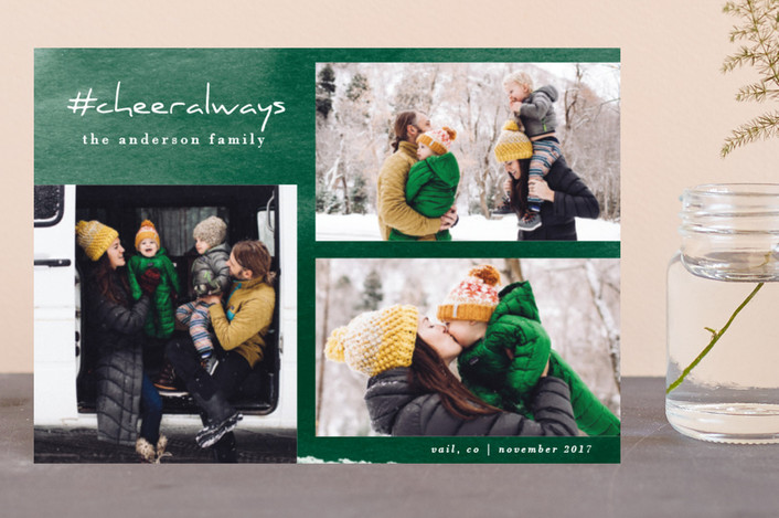"""Love Always"" - Modern Holiday Postcards in Pine by Carol Fazio."