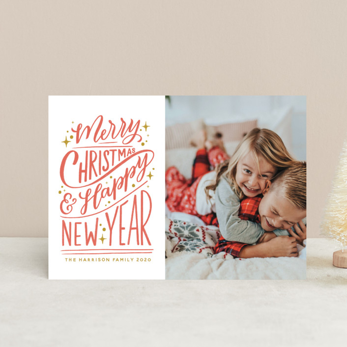 """""""Hand-Lettered"""" - Bohemian, Vintage Holiday Postcards in Peppermint by Nicole Barreto."""