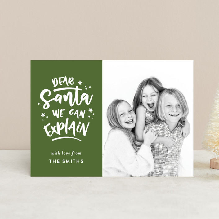 """""""Dear Santa"""" - Funny Holiday Postcards in Pine by Michelle Poe."""