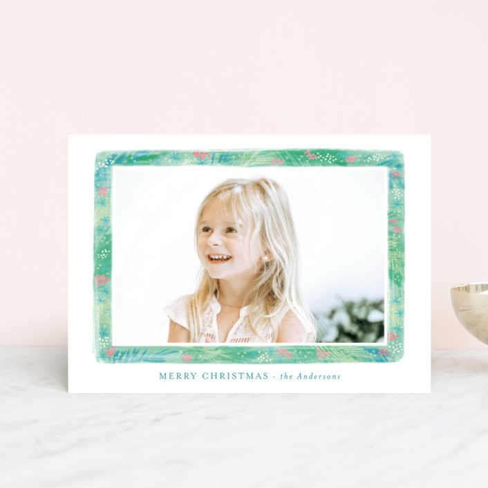 """""""Stylish greenery frame"""" - Holiday Postcards in Evergreen by Alexandra Dzh."""