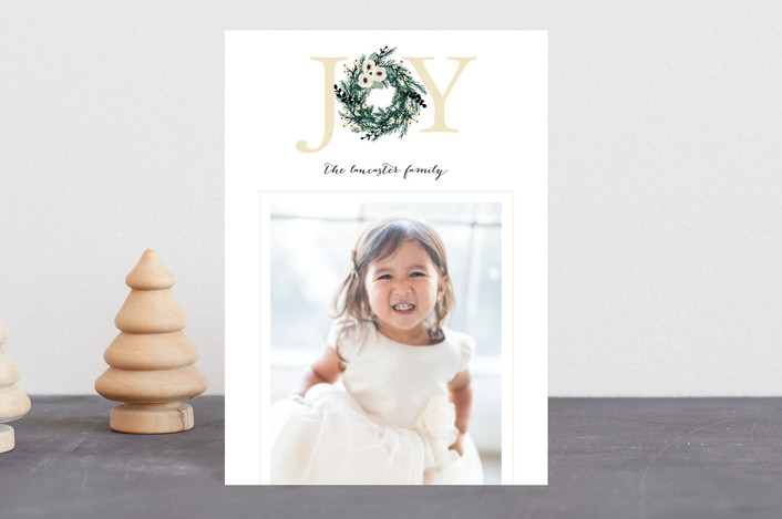 """Joyful Evergreen Wreath"" - Holiday Postcards in Cream by Paula Pecevich."