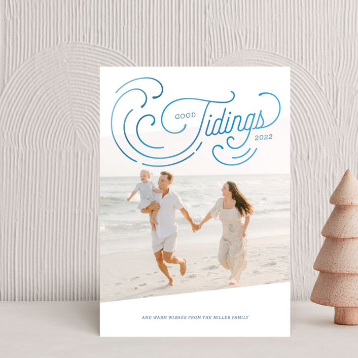 """Holiday Tides"" - Vintage Holiday Postcards in Azul by Paige Rothhaar."