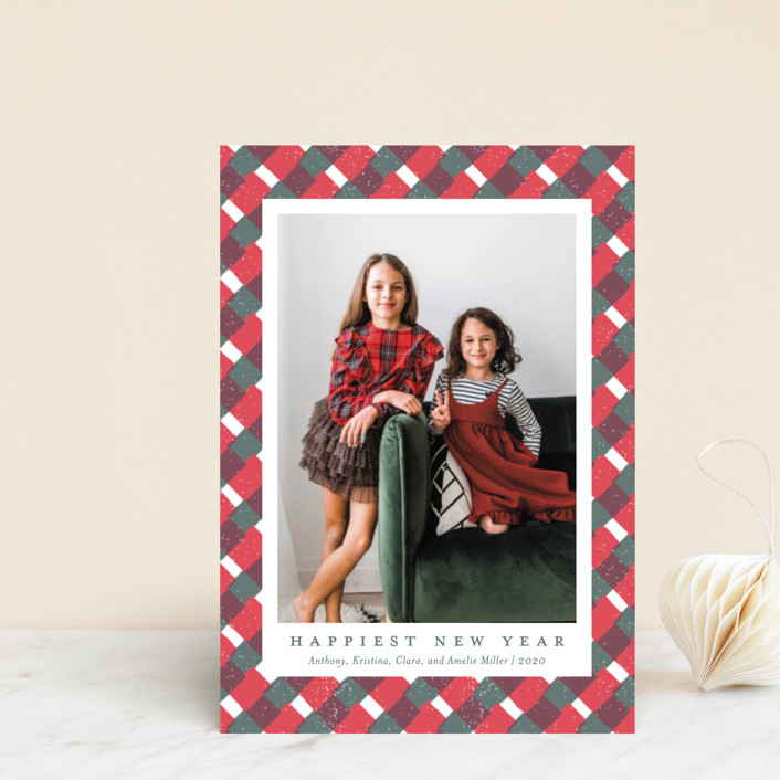 """""""Holiday Gingham"""" - Holiday Postcards in Mistletoe by Meggy Masters."""