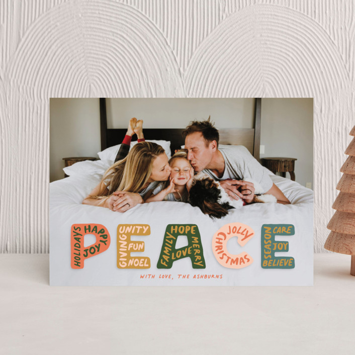 """""""Peaceful Words"""" - Holiday Postcards in Earthy by GeekInk Design."""