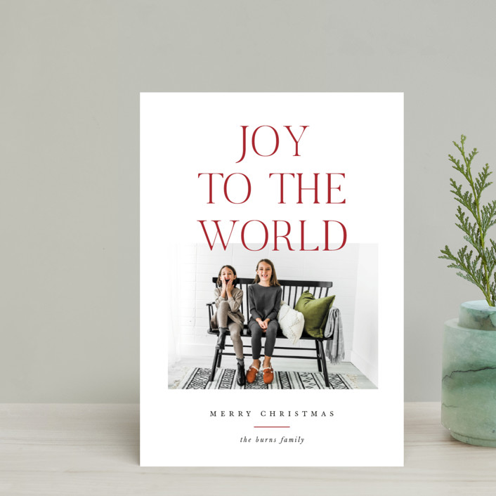 """""""All The Joy"""" - Holiday Postcards in Cranberry by Pixel and Hank."""