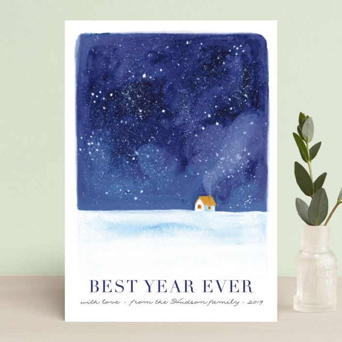 """Christmas eve"" - Holiday Postcards in Night Sky by Alexandra Dzh."