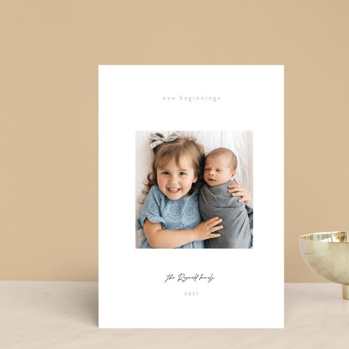 """Gazing. boy"" - Holiday Postcards in Sage by Benita Crandall."