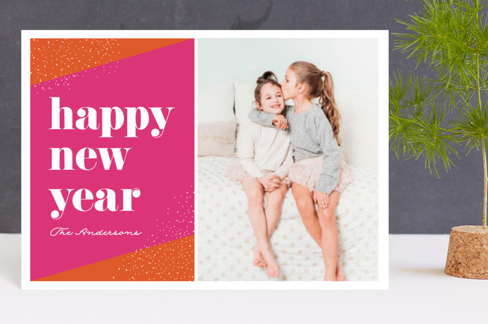 """""""Bright year"""" - Modern Holiday Postcards in Candy by Little Print Design."""