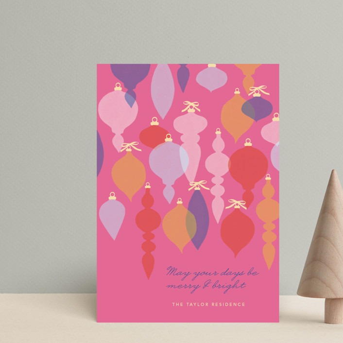 """Adornment"" - Modern Holiday Postcards in Fuschia by Marabou Design."