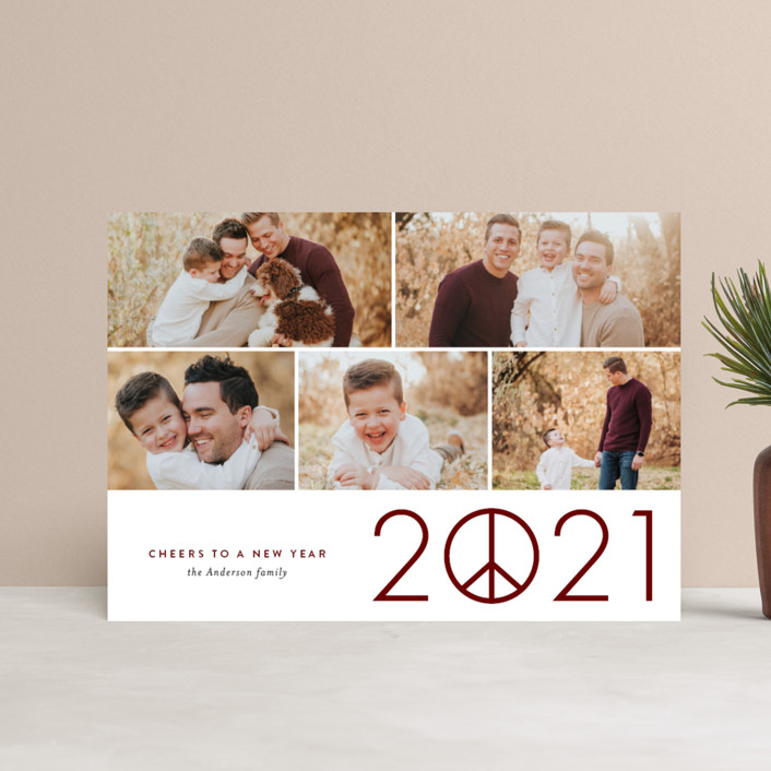 """""""Hope in 2021"""" - Holiday Postcards in Merlot by Jessica Ogden."""