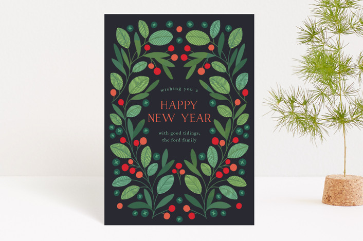 """Peaceful Laurel Leaf"" - Holiday Postcards in Navy by Paper Raven Co.."
